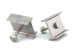 I-beam Cufflinks in Polished Bronzed Silver Steel