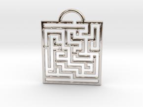 Maze Pendant in Rhodium Plated Brass