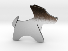 Origami Dog pendant in Polished Silver