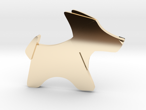 Origami Dog pendant in 14k Gold Plated Brass