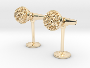Microphone Cufflinks in 14k Gold Plated Brass