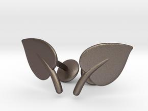 Leaf Cufflinks in Polished Bronzed Silver Steel