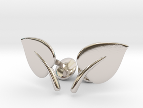 Leaf Cufflinks in Rhodium Plated Brass