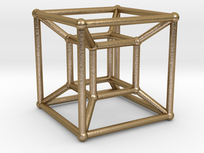 Tesseract Hypercube in Polished Gold Steel