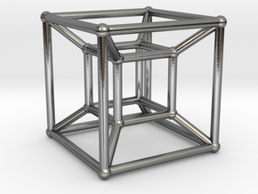 Tesseract - 4d Hypercube - E4 in Polished Silver