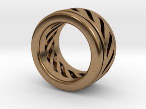 Simple - Fidget (Spin) Ring in Interlocking Raw Brass: 3 / 44