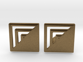 Square Designer Cufflinks in Natural Bronze