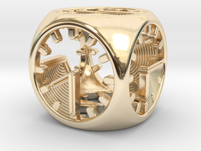 Tick Tock D6 in 14k Gold Plated Brass