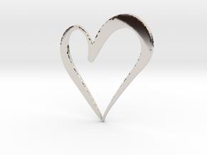 Big Heart in Rhodium Plated Brass