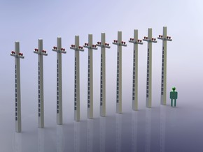 Concrete Telephone Poles 1/285 in Smooth Fine Detail Plastic