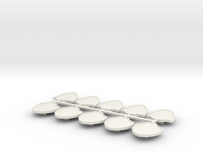 10 Pack Small Shield in White Natural Versatile Plastic
