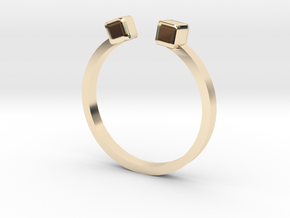 Double Square Ring in 14k Gold Plated Brass: 5.5 / 50.25