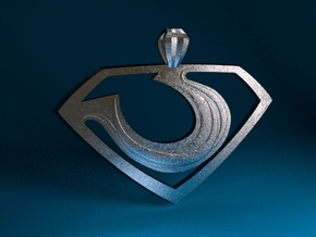 "Zod ""Man of Steel"" Pendant in Polished Bronzed Silver Steel"