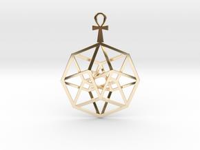 "TesserAnkh Pendant 2.5"" in 14k Gold Plated Brass"