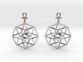 TesserAnkh-earrings in Natural Silver