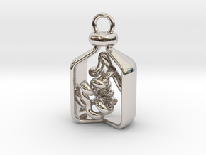 Vial of Insulin Charm - A treatment, not a cure. in Rhodium Plated Brass