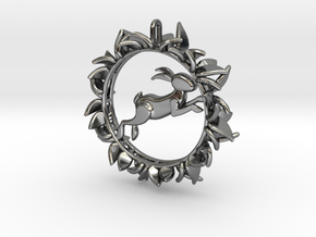 Rabbit Pendant in Fine Detail Polished Silver