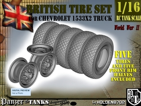 1-16 Chevy LRDG Tire And Rims For FUD in Smooth Fine Detail Plastic