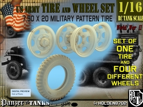 1-16 GMC Tire+Rims 750x20 in Smooth Fine Detail Plastic