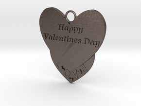 Valentine's Day Pendant in Polished Bronzed Silver Steel