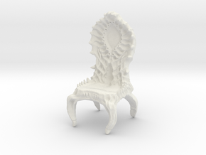Chair, biomechanical Giger Style in White Strong & Flexible