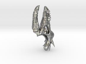 Stygimoloch Dinosaur Skull Pendant in Natural Silver