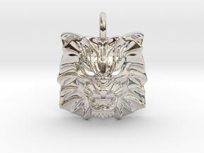 Lion Pendant in Rhodium Plated Brass