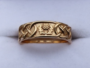 Scottish Thistle Ring in Polished Bronze: 8 / 56.75