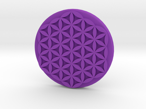 Flower Of Life Button in Purple Strong & Flexible Polished