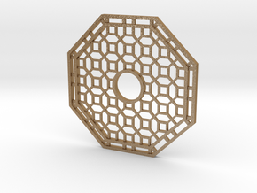 Chinese Octagon Lattice Mirror Charm in Matte Gold Steel