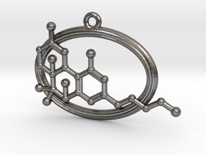 THC Molecule in Polished Nickel Steel