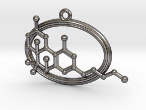 THC Molecule in Polished Nickel Steel
