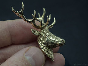Deer head pendant in Raw Bronze
