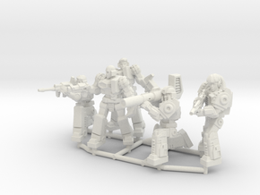 Diaclone Combat Squad, 5 35mm Minis in White Strong & Flexible