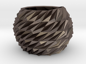 Indoor planter in Polished Bronzed Silver Steel