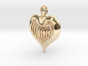 Heart In Cage - Valentine's Day in 14K Yellow Gold
