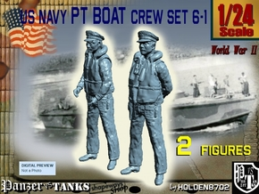 1-24 US Navy PT Boat Crew Set6-1 in White Natural Versatile Plastic
