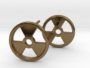 Nuclear Hazard Earrings in Polished Bronze