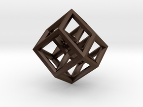 Hypercube Pendant in Polished Bronze Steel: Large