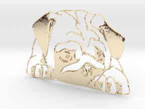 "Mops ""liegend"" in 14k Gold Plated Brass"