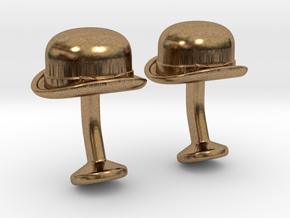 Bowler Hat Cufflinks in Natural Brass