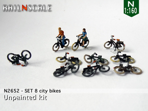 8 City-bikes (N 1:160) in Smoothest Fine Detail Plastic
