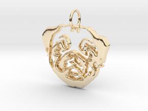 Mops Head 2 in 14k Gold Plated Brass