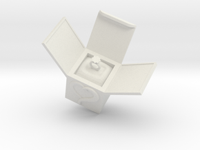 Box Ring  Jewelry (Smaller Size) in White Natural Versatile Plastic: Small