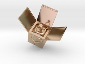 Box Ring  Jewelry (Smaller Size) in 14k Rose Gold Plated: Small
