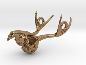 Jackalope Skull Pendant in Natural Brass