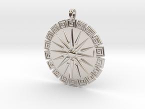 Vergina Sun Pendant Jewelry Symbol in Platinum