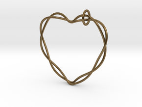 Woven Heart with Bail in Natural Bronze (Interlocking Parts): Extra Small