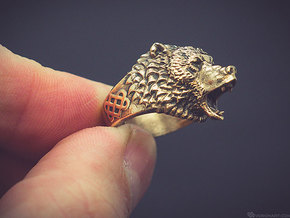 Roaring bear ring in Polished Bronze: 11.5 / 65.25
