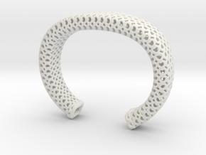 Heart Pattern Cuff in White Natural Versatile Plastic
